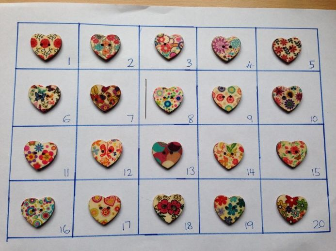Heart Needle Minders (wooden) Set A